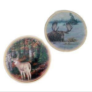 Genuine Marble Wall Art Moose Deer Set of 2